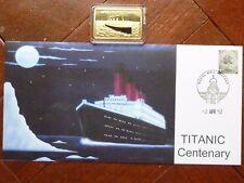 TITANIC INGOT 24kt Gold plated & TITANIC CENTENARY COVER Belfast postmark