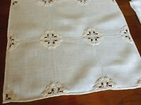 17 PC Superb Vintage Italian Linen Placemats Set Drawnwork Punto Riccio Embroid