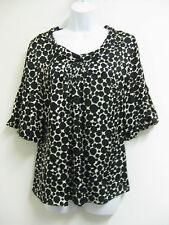 8 ALFANI Top Blouse 100% Silk Black White Peplum Sleeves Gorgeous Dressy Career