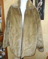 LUCY SUPER NICE FAUX FUR COAT ZIPPER FRONT PLAID FLANNEL LINING ONE SIZE