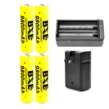 USA 18650 4pcs 18650 3.7V 9800mAh Li-ion Rechargeable Battery and 1 X Charger