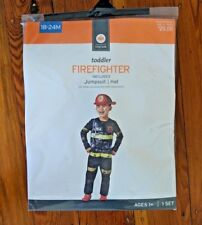 Firefighter Halloween Costume Dress Up Jumpsuit Hat Toddler size 18-24 Months