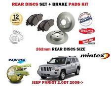 Para Jeep Patriot 2.0DT 2.2DT 2.4i 2006 > Trasero Discos De Freno Kit Set 262mm + Almohadillas