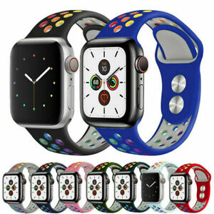 Rainbow Silicone Strap For Apple Watch Series 5 4 3 21 38/40/42/44mm iWatch Band