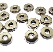20 WASHER BEADS Rondelle Spacer Silver Plated 8mm Flat Round Disc Faceted Donut