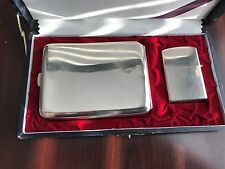 1940'S STERLING SILVER LIGHTER AND CIGARETTE CASE ZIPPO INSERT IN BOX 2032695