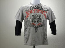 Southpole Shirt Long Sleeve Youth Size 14 No Tag Gray Red Black Truth & Liberty