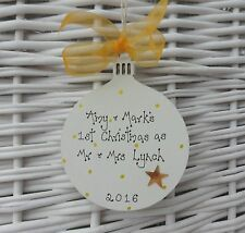 PERSONALISED FIRST 1st CHRISTMAS AS MR & MRS WOODEN BAUBLE  TREE DECORATION