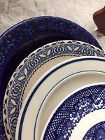 Set Of 4 Vintage China Mismatched Blue & White Dessert Cake Bread Plates  #208