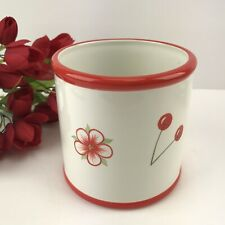 Cache Pot Flower Planter Cherry Blossom Cluster Ceramic Red Border Blue Sky