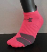 Under Armour Hombre Run Cojín Tab No Show Calcetines Rosa Shock / Gris Mediano