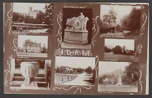 Postcard Ilam Staffordshire early multiview Ilam Hall village Church etc RP Bull