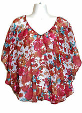 Poncho Chiffon Top Bloue Batwing M Floral Lace Nordstrom Mimi Chica Boho Roses