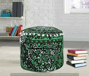 Green Mandala Psychedelic Ottomans Decor Living Poufs Cover Indian Cotton Decor