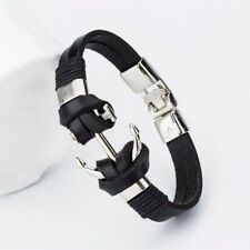 Anchor Bracelet Black Genuine Leather | UK Seller