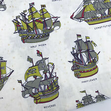 Fabric Ships of Discovery 72x34in Mayflower Revenge Constitution Santa Maria Vtg