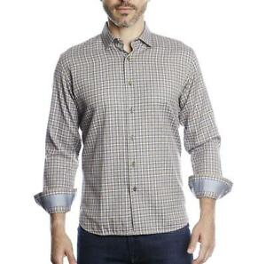 Luchiano Visconti Men's Beige with Navy And White Plaid Long Sleeve Shirt