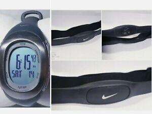 Women Nike Imara Watch Silver Bezel Gray Band Chrono Heart Rate Monitor & Sensor
