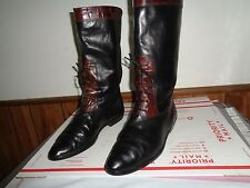 JOAN & DAVID Black Brown Leather Mid Calf Boots Size 10, 41 Made in Italy Laces