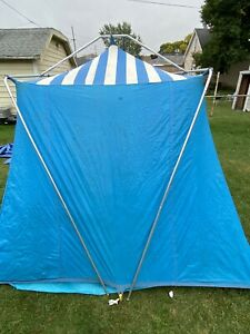Blue HILLARY Canvas Nylon Tent 8'X10' Sears Cabin Tent 4 Person Peaked Cottage