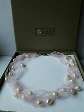 HONORA STERLING SILVER,  BAROQUE PEARLS ON SOFT PINK MESH NECKLACE