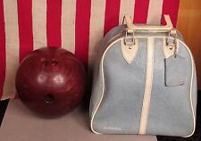 Vintage AMF Strikeline Red Bowling Ball 12 Lbs. & Gladding Bowling Ball Bag Case