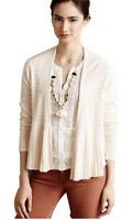 Moth Anthropologie Ivory Pointelle Peplum Cardigan Open Front Pleated Sweater S