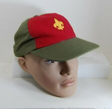 Boy Scouts BSA Twill Adjustable Baseball Cap Hat Green and Red VGC