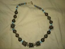 Lava rock, Swarovki and silver beads necklace