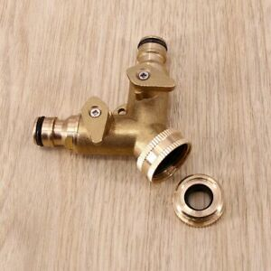 "2 Way 3/4"" Double Garden Tap Hose Adapter Twin Splitter Brass Outdoor Connector"