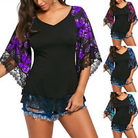 Womens Floral Flare Gauze Sleeve Blouse Summer Loose Tunic Top T Shirt Plus Size