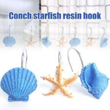 12Pc Resin Seashell Starfish Shower Curtain Hooks Hanger Ring Organizer Bathroom