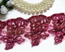 """3"""" Burgundy Red Sequins Beads Embroidered Flowers Fringe Lace Trim -T999"""