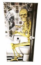 Halloween Door Cover Skeleton in the Loo Funny Decoration