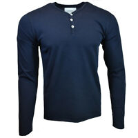 Men's Henley Long Sleeve Shirt -ZW- Slim Fit -Pullover Button Blouse- NAVY BLUE
