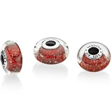Authentic PANDORA Silver Red Twinkle Murano Glass Charm 796366