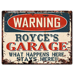 PPFG0539 WARNING ROYCE'S GARAGE Tin Chic Sign Home man cave Decor Funny Gift
