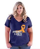 Appendix Cancer Just Fight It  Women Curvy Plus Size V-Neck Tee