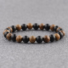 Fashion 8MM Multilayer Wooden Beaded Women Mens Bracelet Jewelry Stretch Gift