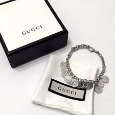 AUTHENTIC GUCCI SILVER COIN CHARM BRACELET TOTAL L:19CM SHIPPING FREE