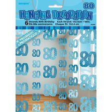 GLITZ BLUE 80TH BIRTHDAY PARTY SUPPLIES 6 DANGLING HANGING STRING DECORATIONS