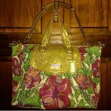 COACH ASHLEY FLORAL LARGE SATCHEL GOLD, GREEN, WHITE, PURPLE SHOULDER BAG 14589