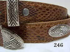 New Leather Brown & Blonde Concho Snake Dress or Golf Belt Size Medium Only