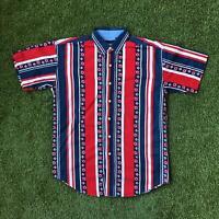 90s Vintage CATALINA Mens Vertical Stripe Shirt Medium | Short Sleeve |