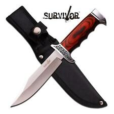 Survival Brown Wood Handle Straight FIXED Blade Hunting Bowie Knife
