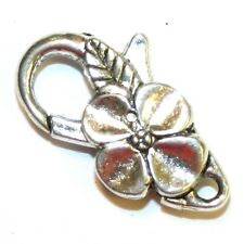 M7207L Antique Silver Large 25mm Flower Design Lobster Claw Focal Clasp 5pc