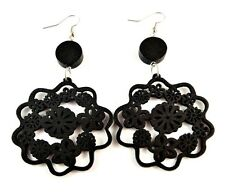 Black Wood Flower Shape Lightweight Laser Cut Fashion Dangle Earrings - # B299