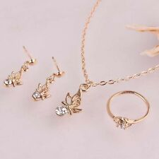 Sets - Pendant, Earrings, Ring - Butterfly & crystal on Gold Filled 38cm chain