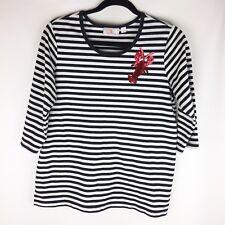Quacker Factory Women Sz Medium White Black Stripe Sequin Lobster Top t-shirt