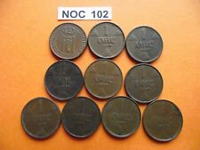 NORWAY (NORGE). 10 BRONZE COINS@ 1 ORE (1929-1948)#NOC102